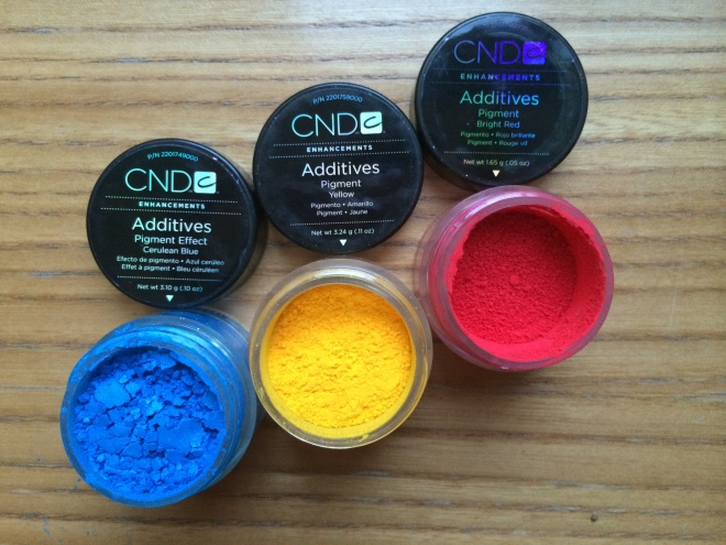 Cerulean Blue, Yellow, Bright Red Pigment